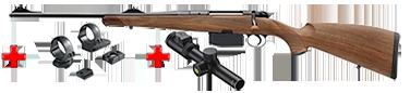 HEYM Carabine à verrou KS1 30.06 55cm Gaucher + montage pivot diam. 30 MR3019P+ BRA15011